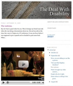 Deal with Disability blog screenshot