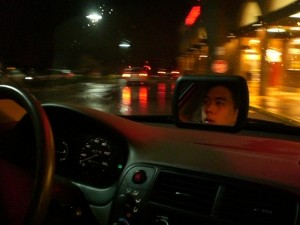 A photo of the dashmirror being used inside a car.