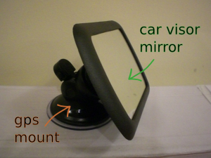 A photo of the dashmirror, with part labels; it's made from a car visor mirror glued to a GPS suction-cup mount.